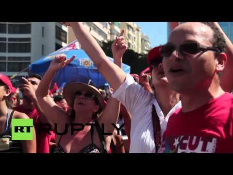 Brazil: 1,000s protest against impeachment vote at Rio's Copacabana beach