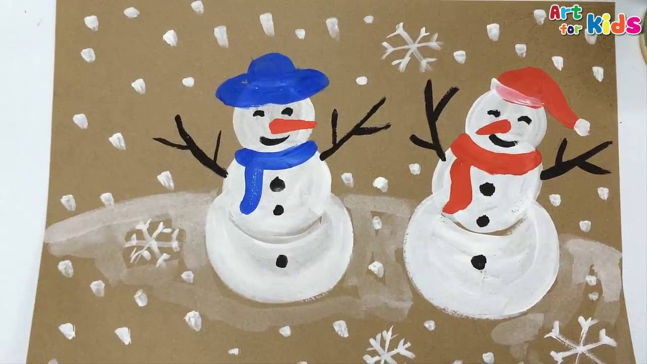 Christmas Paintings For Kids.Painting Christmas For Kids How To Draw A Snowman For Kids Painting For Kids Art For Kids