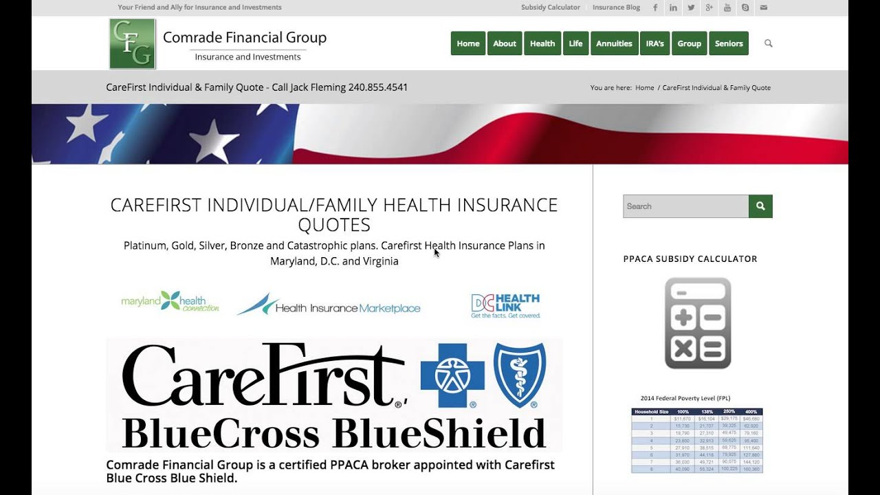 Blue Cross Health Insurance Quotes Carefirst Health Insurance Quotes In Maryland D.cand Virginia