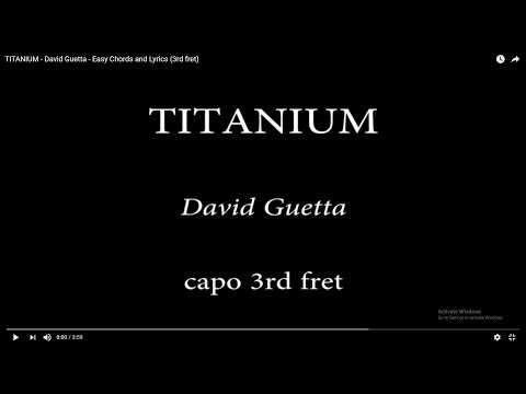 TITANIUM - David Guetta -  Easy Chords And Lyrics (3rd Fret)