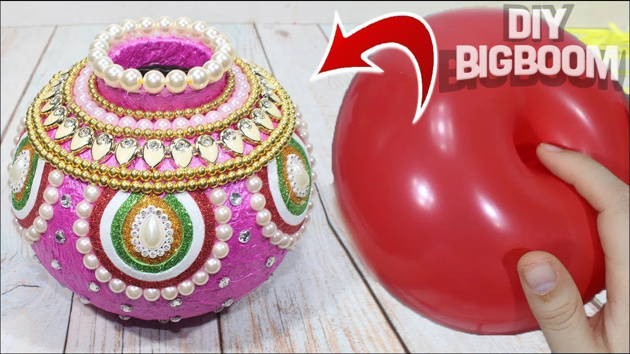 Idee Deco Vase Rond how to make flower pot with balloon and paper | flower pot decoration ideas