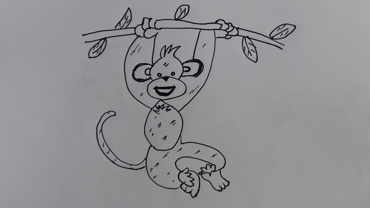 how to draw a monkey with tree draw a realistic monkey hanging from