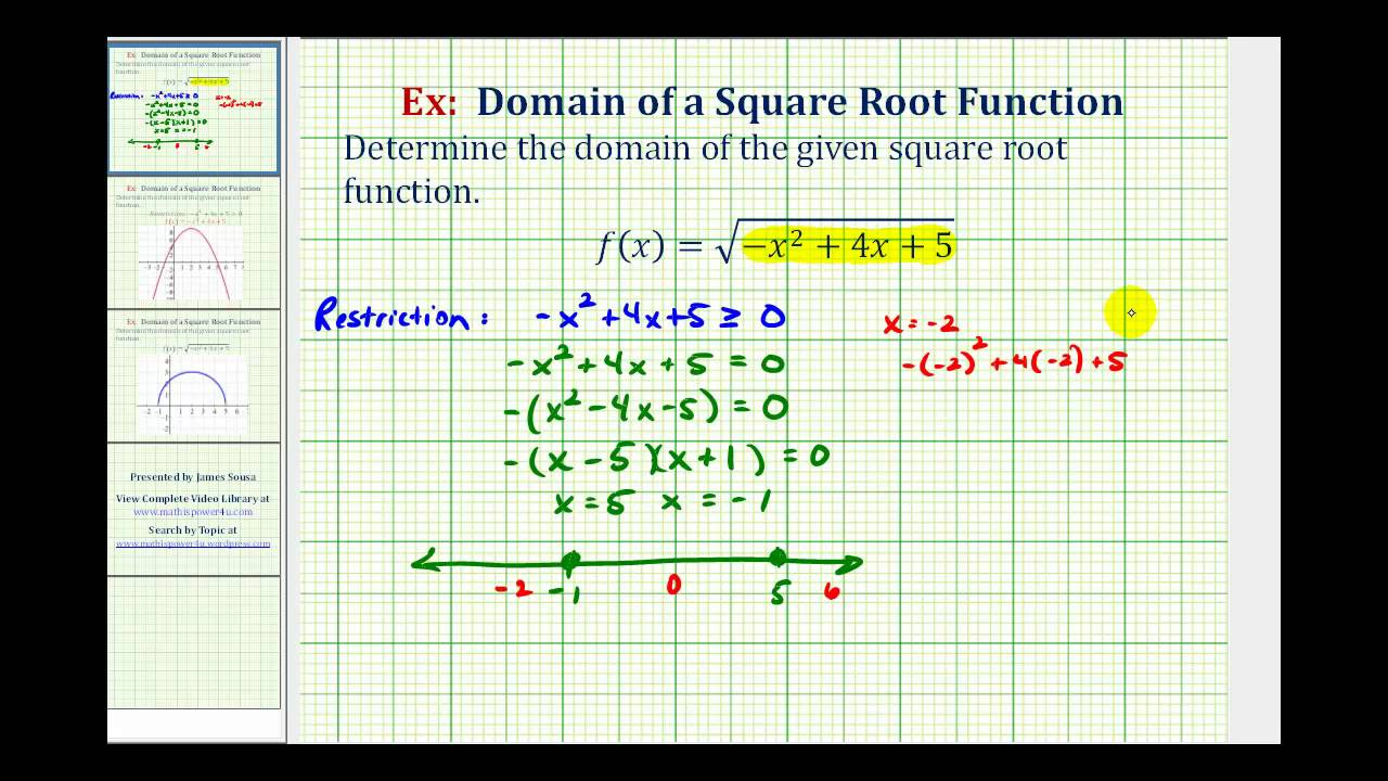 Ex domain of a square root function with a quadratic radicand ex domain of a square root function with a quadratic radicand youtube ccuart Image collections
