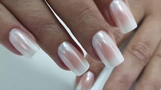 Как сделать ОМБРЕ + втирка Белый Хром | White Chrome Nails