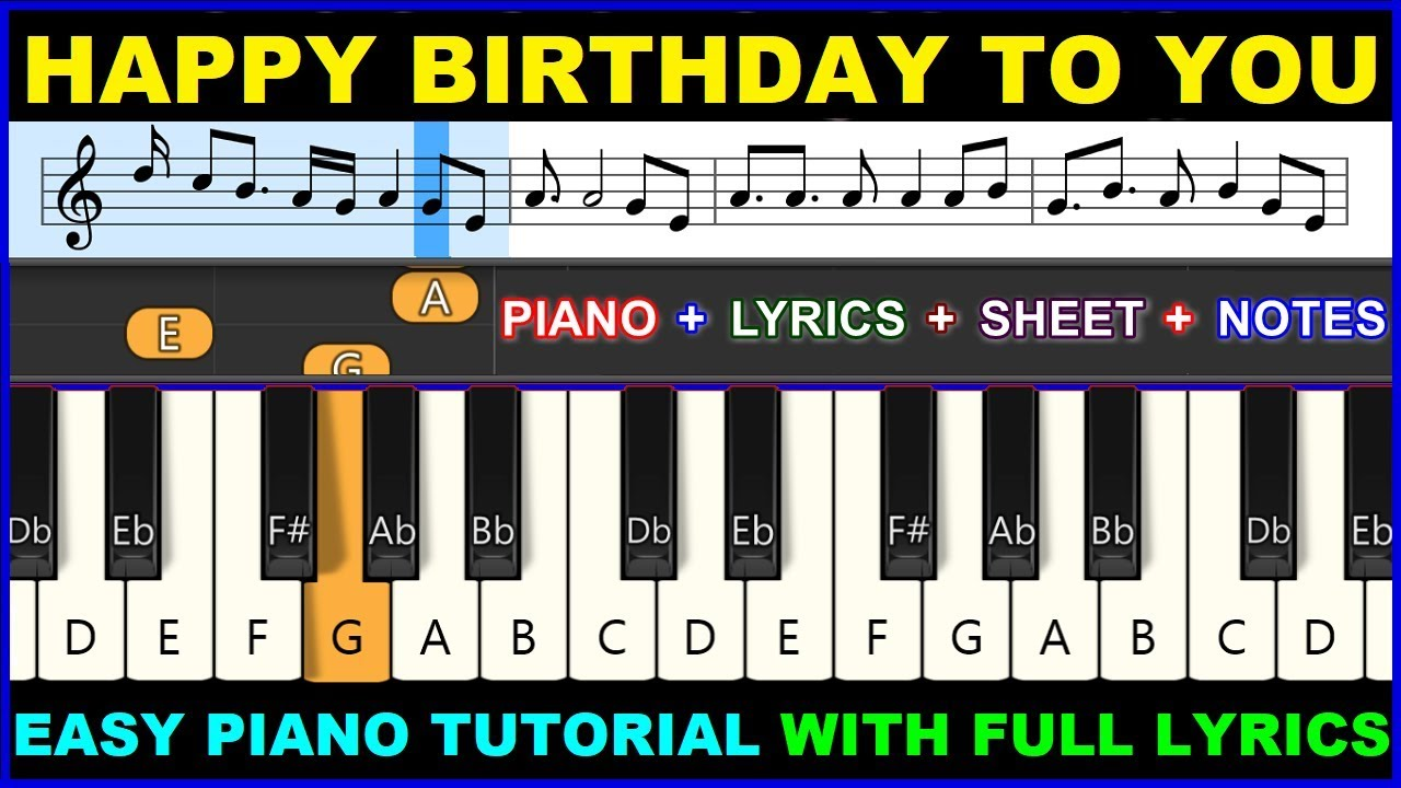 Happy Birthday To You Piano Keyboard Tutorial Full Lyrics Perfect Easy Simple Notes Chords Lesson Youtube