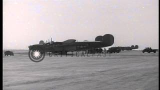 A damaged PB-4Y-1 plane of United States Army Air Force lands on runway in Japane...HD Stock Footage