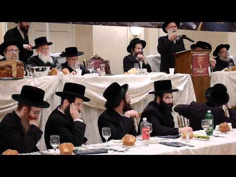 Admor M'Beis Chaim Shea speaking at Darkei Chaim dinner in support of Internet Asifa