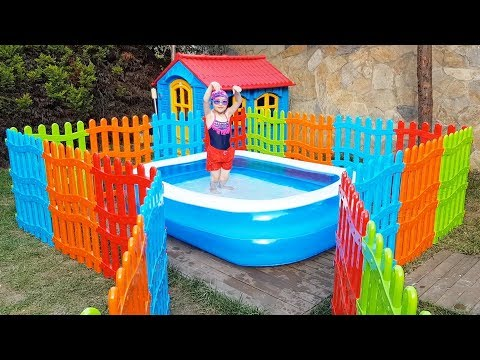 Öykü Yüzme Havuzunda - For Kid Swimming Pool Colored Fences - Funny Oyuncak Avı