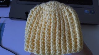Repeat youtube video How to crochet Easy Ribbed Beanie/Cap Style 1 - Yolanda Soto Lopez