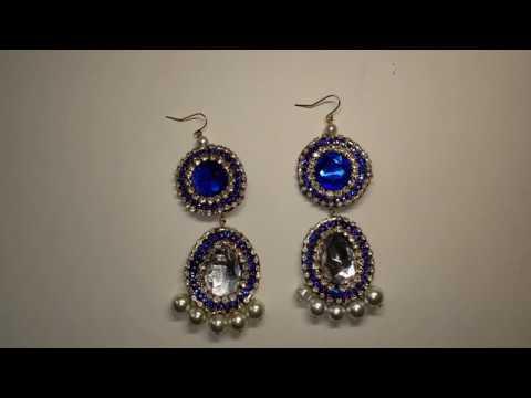 07cf7c4779bced 2019 Trending Fabric Earrings - Blue Sapphire Designer Earrings -  Rhinestone Fashion Earrings
