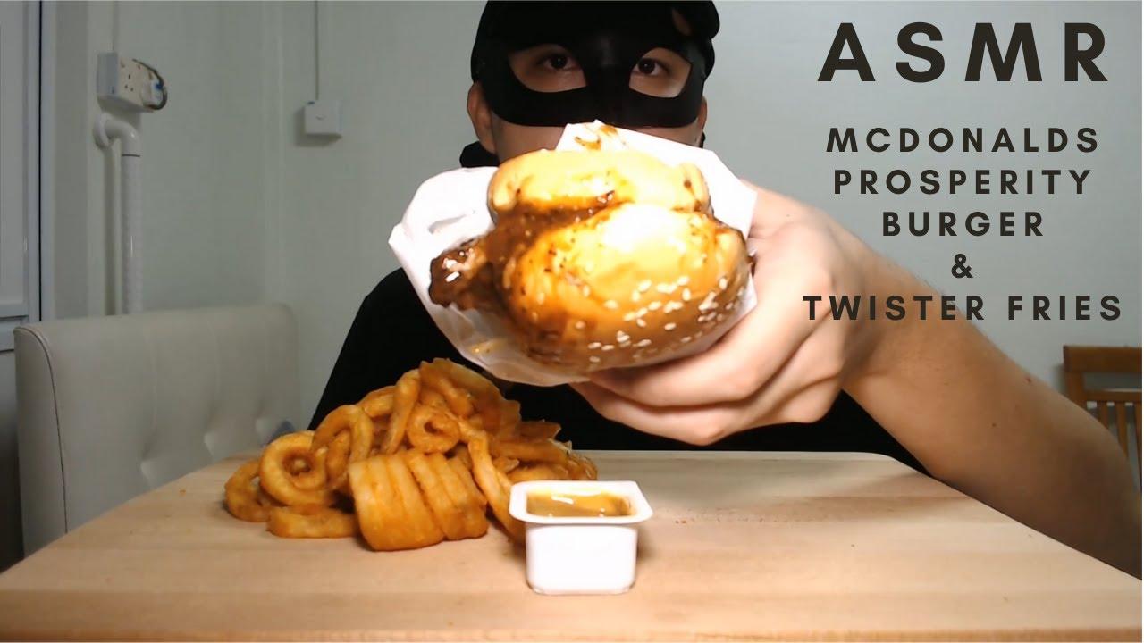 asmr eating mcdonalds new prosperity burger and twister