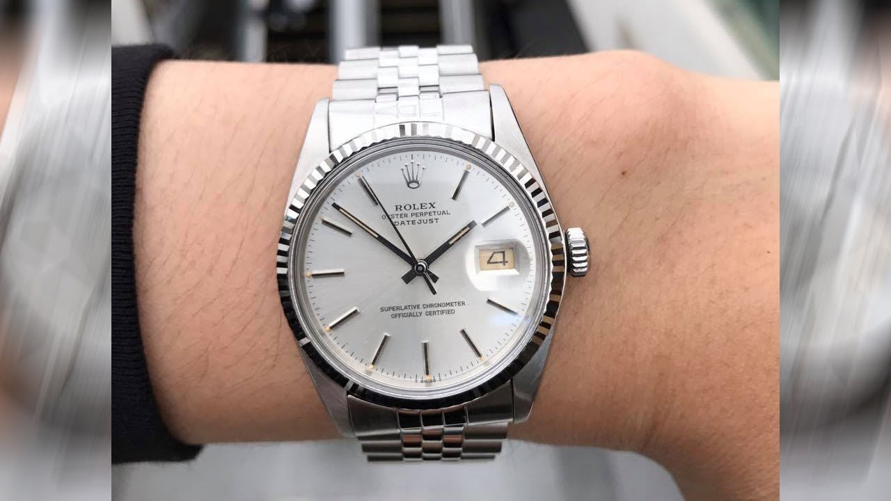 Rolex Datejust 16014 Silver dial 36 mm stainless steel and white gold Swiss  luxury watch on wrist