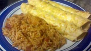Dinner Time: Cheesy Enchiladas & Spanish Rice