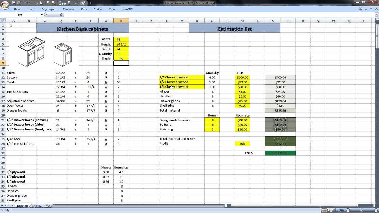Kitchen Cabinets Cut List And Estimate