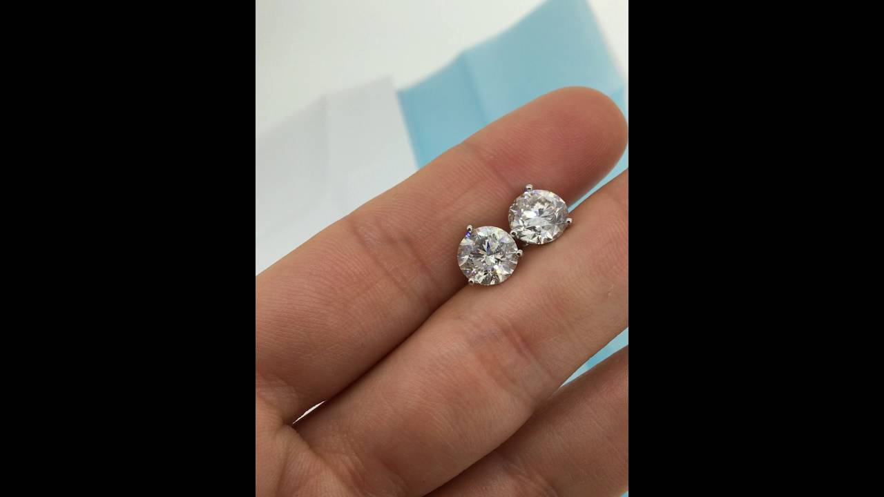 3 95 Carat Diamond Stud Earrings Solitaire Round Brilliant Stones You