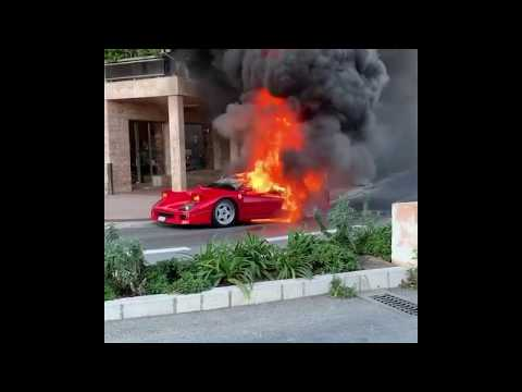 Watch This Poor Ferrari F40 Burn to the Ground in Monaco