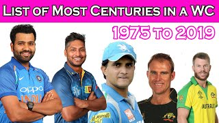 List of Most Centuries in a Single World Cup 1975 to 2019 - ALL TIME RECORD || ICC World Cup || EP-4