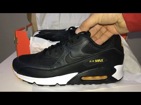 nike-air-max-90-essential-black-/-amarillo-anthracite-unboxing-and-on-feet