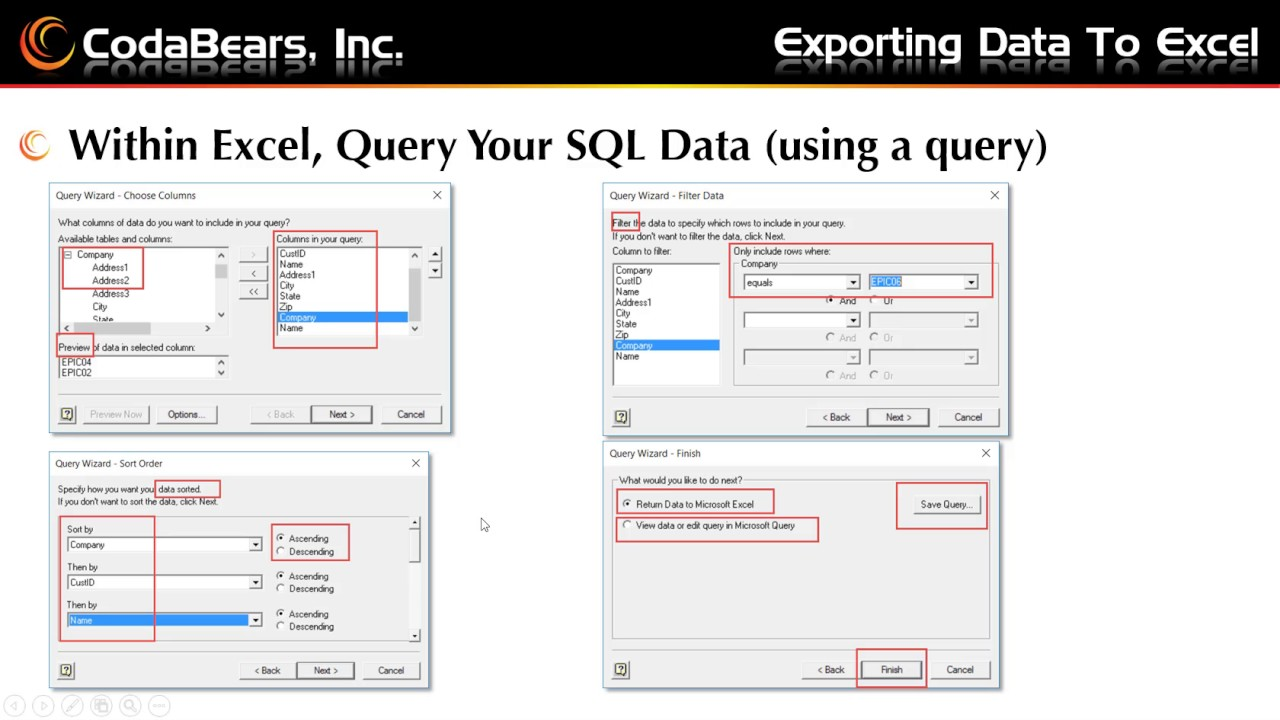Export Epicor data to Excel