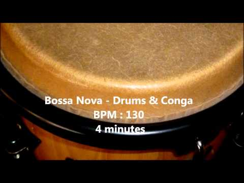 Bossa Nova - Drums & Conga, Rhythm Free Samples , BPM 130 , 4 minutes