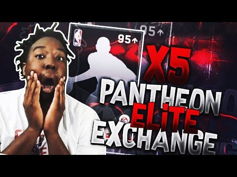 RIPPING OPEN 5 95 + OVR PANTHEON ELITE EXCHANGE PACKS IN NBA LIVE MOBILE 18!!!