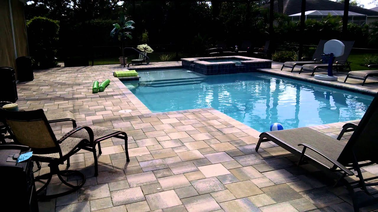 Geometric pool design estero fl youtube for Pool design florida