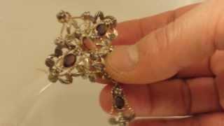 Antike Brosche 375 Gold Diamantrosen Spinell 9 ct Gold Traumstück