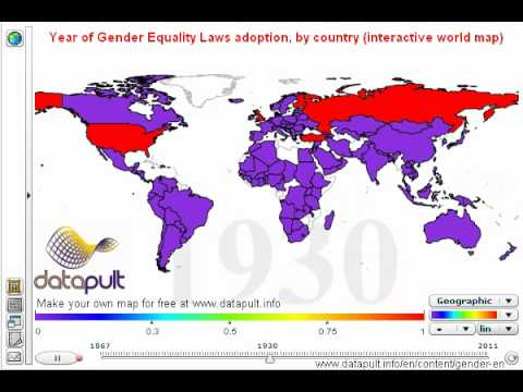 Free Interactive World Map.Year Of Gender Equality Laws Adoption By Country Interactive World