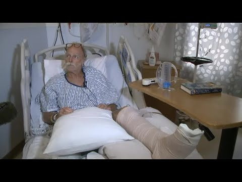 Man injured by lava bomb speaks from hospital bed.
