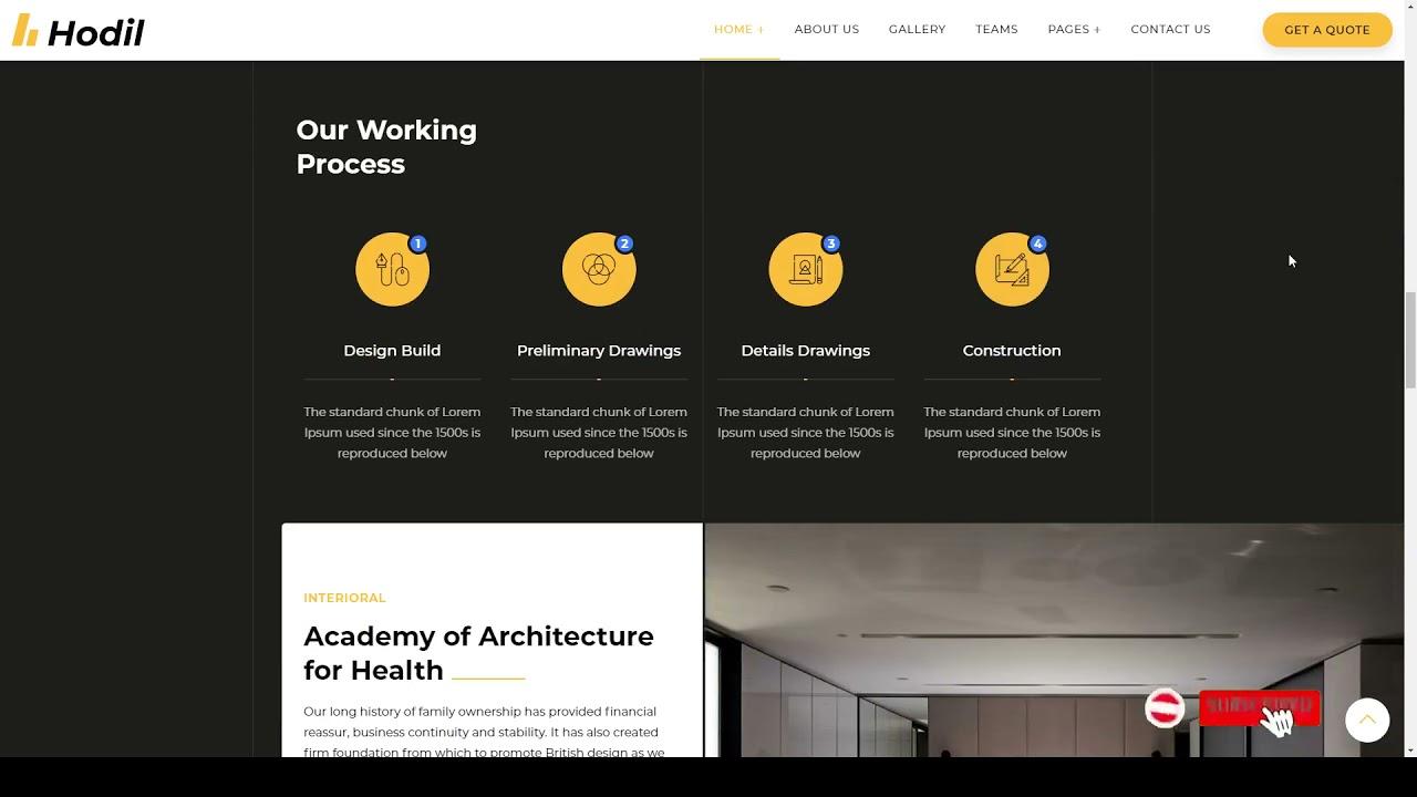 Hodil – Architecture Agency WordPress Theme multipurpose interior design Easy Create Website