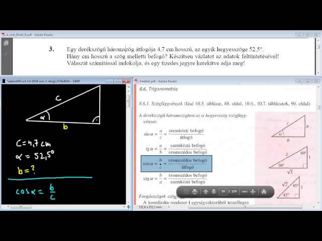 3. Feladat - Derékszögű háromszög, szögfüggvények
