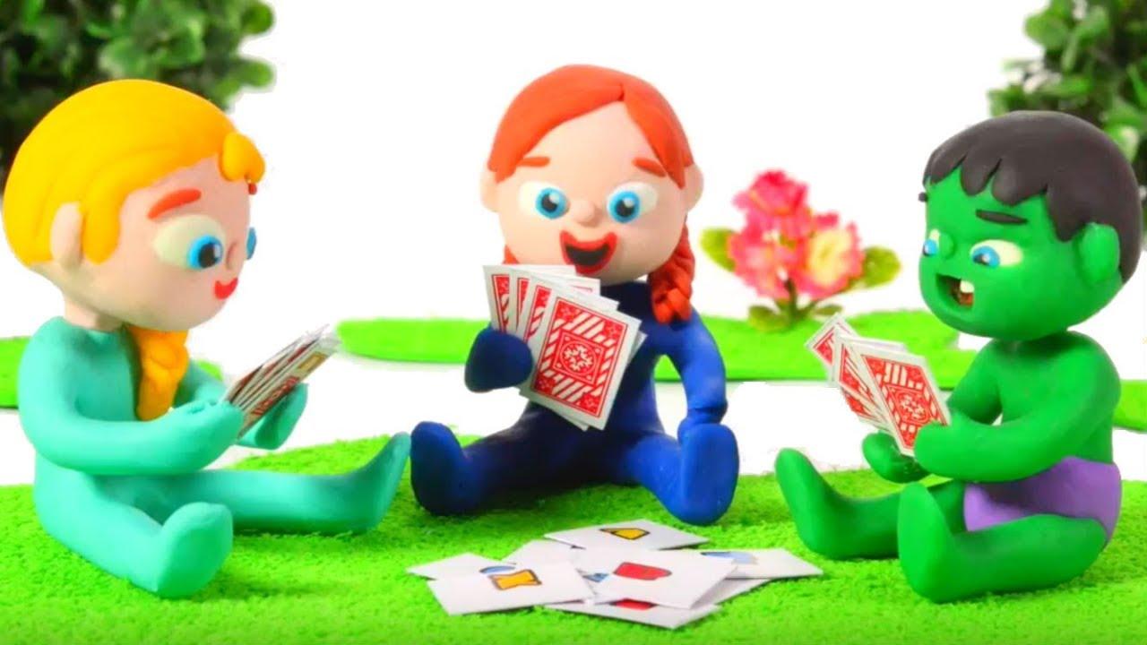 SUPERHERO BABIES PLAYING CARDS ❤ Spiderman, Hulk & Frozen Elsa Play Doh Cartoons For Kids