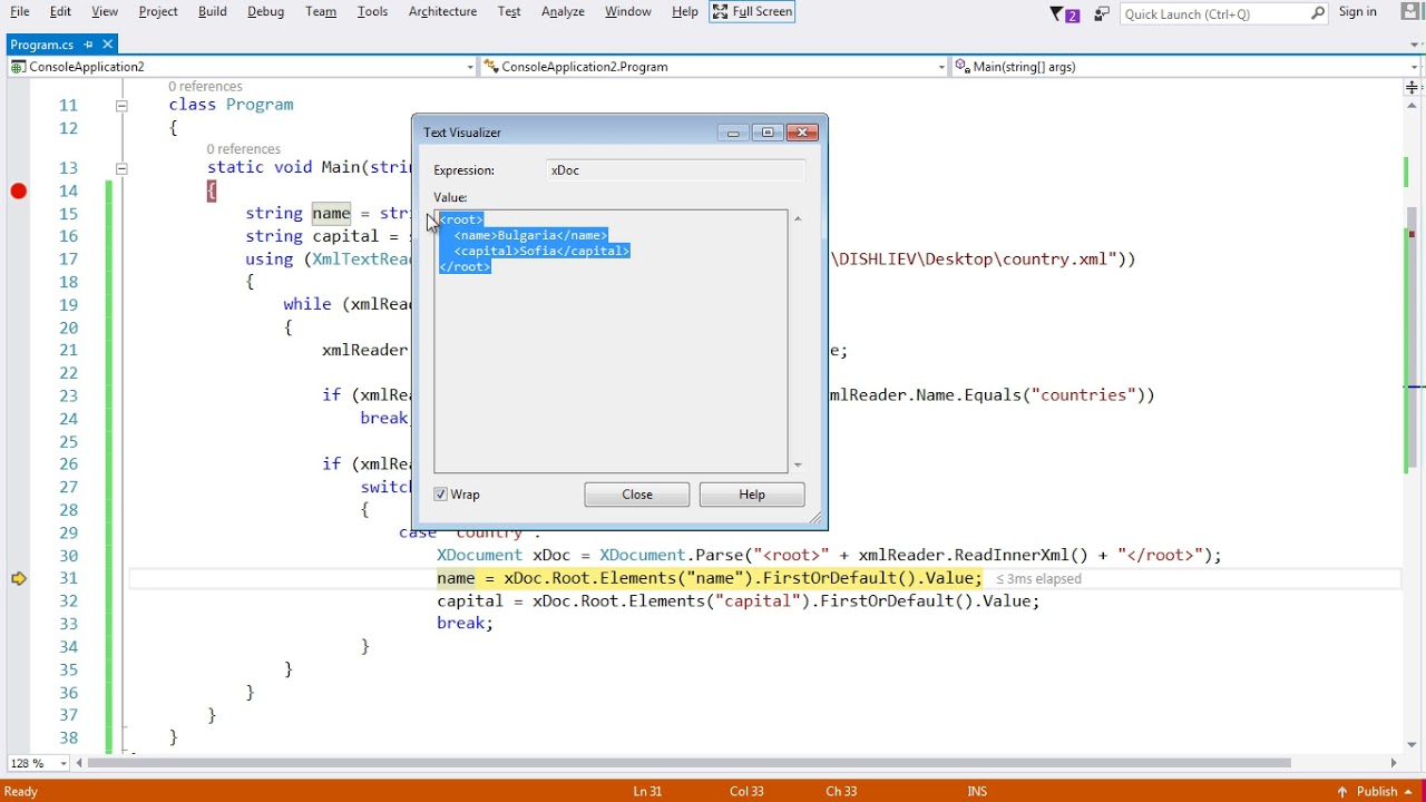 How to parse an xml file using xmlreader in c# and vb. Net.