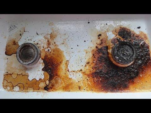 Как очистить нагар на плите