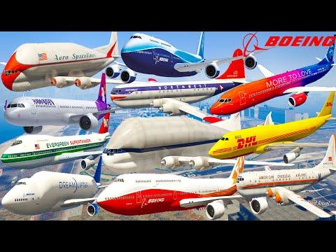 GTA V: Every Boeing Airplanes Los Santos Airport Take Off Test Flight Landing Gameplay  