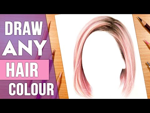 how-to-draw-any-hair-colour- -drawing-hair-in-coloured-pencil-tutorial