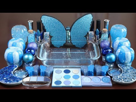 """Mixing """"BLUE""""Makeup,More Stuff &BLUESlime Into slime!Most Satisfying Slime Video."""