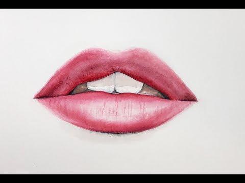 Lips in Watercolors Painting Tutorial