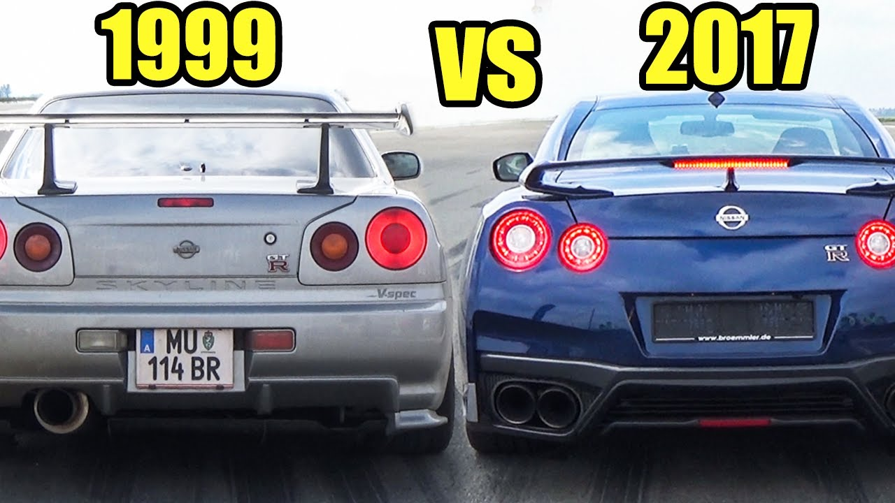 nissan skyline gtr r34 vs nissan gtr r35 2017 accelerations exhaust sound youtube. Black Bedroom Furniture Sets. Home Design Ideas