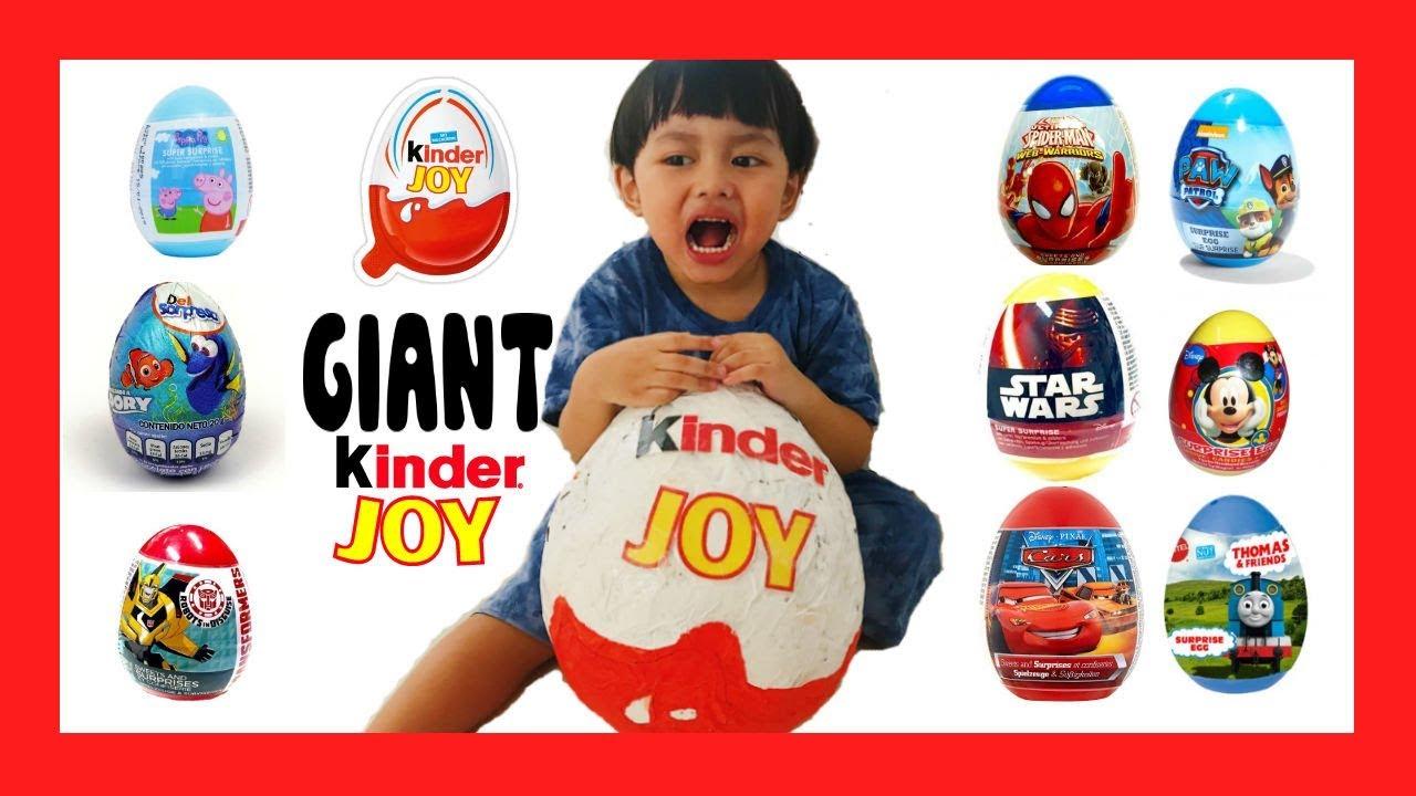 Telur Kejutan Kinder Joy Raksasa Unboxing Mainan Anak Laki Laki Perempuan Youtube