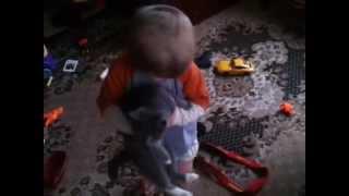 Танцующий ребенок с котом(Ребенок танцует под музыку с телевизора., 2015-01-25T12:12:45.000Z)