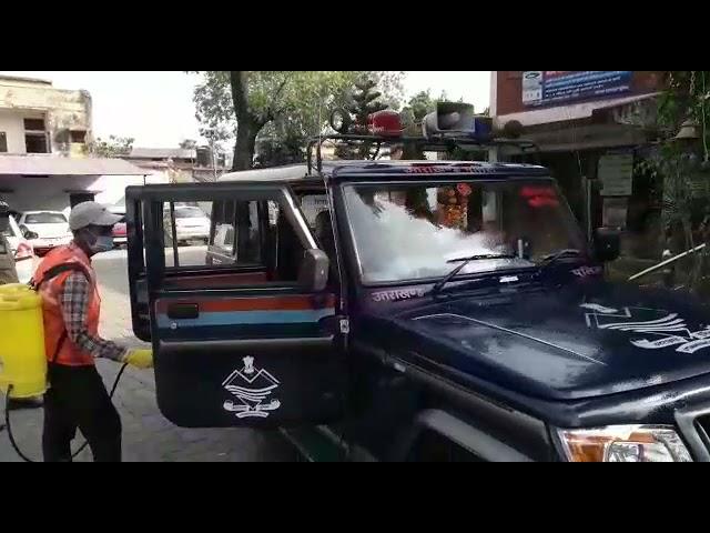 कोतवाली ऋषिकेश पुलिस द्वारा कोविड-19 से सुरक्षा के दृष्टिगत, कोतवाली ऋषिकेश परिसर एवं कार्यालय म