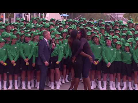 Williams Sisters Welcome Ball Kids At Melbourne Park 2017