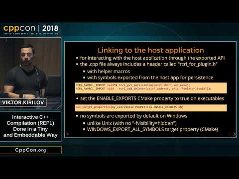"""CppCon 2018: Viktor Kirilov """"Interactive C++ Compilation (REPL) Done In A Tiny And Embeddable Way"""""""