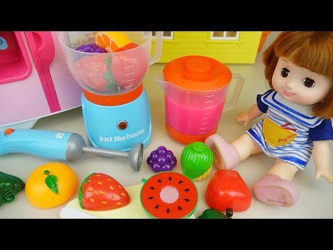 Thumbnail: Baby doll and Fruit juice maker and refrigerator toys play