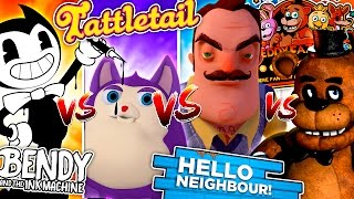 ROBLOX CHALLENGE - BENDY AND THE INK MACHINE & HELLO NEIGHBOUR FIGHT FNAF FREDDY & MAMA TATTLETAIL!