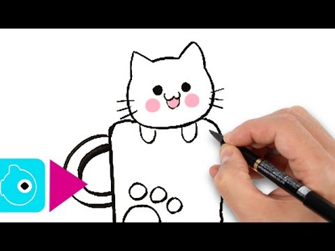Dessiner un chat kawaii en moins de 3 minutes facile - Modele dessin chat facile ...