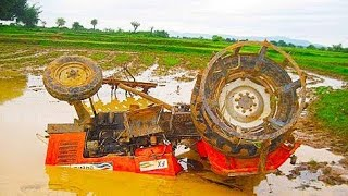 स्वराज ट्रेक्टर फँस गया खेत में/Tractor fasa pani me/swaraj 744 FE Tractor stucking in mud