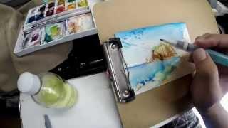 水彩画の描き方一例 絵葉書 「風景画」 笹川流れ・眼鏡岩 透明水彩絵具 How to draw a picture postcard of watercolor  PART2