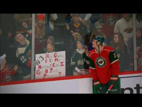 Young Minnesota Wild fan thanks Charlie Coyle with a cute sign